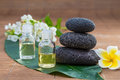 Essential Oil, flower, pebble stone on green leaf Royalty Free Stock Photo