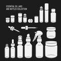 Essential oil jars and bottles design set. Vector vintage illustration.