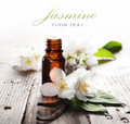 Essential oil with jasmine flower and vanilla Royalty Free Stock Images