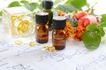 Essential oils with herbs and supplement on science sheet fresh Royalty Free Stock Image