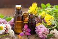 Essential oils and medical flowers herbs oil Royalty Free Stock Image