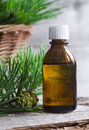 Essential pine oil small bottle of Stock Image
