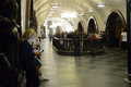 Estación de metro de moscú tráfico cuadrado de la revolución subterráneo Foto de archivo libre de regalías