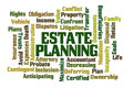 Estate planning word cloud on white background Royalty Free Stock Image