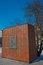 Este monumento conmemora la visita del canciller alemán en polonia en diciembre de willy brandt se arrodilló en los pasos del Foto de archivo libre de regalías