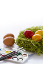 Ester eggs with brush and paint Royalty Free Stock Photos