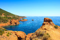 Esterel rocks beach coast and sea cote azur provence france mediterranean red french riviera in d near cannes europe Royalty Free Stock Images