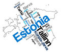 Estonia map and cities Stock Image