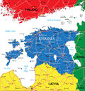 Estonia map highly detailed vector of with administrative regions main cities and roads Stock Photo