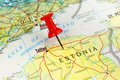 Estonia map with pin close up of tallinn on a red Stock Photos