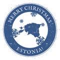 Estonia map. Vintage Merry Christmas Estonia.