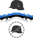 Estonian wsw helmet and flag illustration Royalty Free Stock Photos