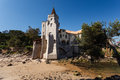 Estoril, Portugal beach with beautiful luxury home with castle tower Royalty Free Stock Photos