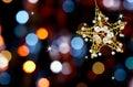 Estrella de la Navidad con las luces Foto de archivo