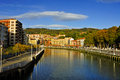 Estuary of bilbao in bilbao spain a view the crossing the city Stock Photo
