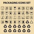 Et of packaging icons, packing cargo labels, delivery service symbols Royalty Free Stock Photo
