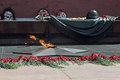 The eternal flame at tomb of unknown soldier in alexander garden moscow Royalty Free Stock Photography