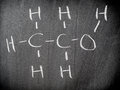 Ethanol chemical formula in classroom Royalty Free Stock Images