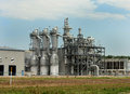 Ethanol plant distillation towers metal of rural facility Stock Image