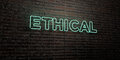 ETHICAL -Realistic Neon Sign on Brick Wall background - 3D rendered royalty free stock image Royalty Free Stock Photo