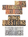 Ethics questions and key values Stock Photos