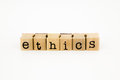 Ethics wording isolate on white background Royalty Free Stock Photos