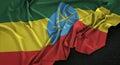 Ethiopia Flag Wrinkled On Dark Background 3D Render