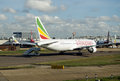 Ethiopian airlines plane at heathrow airport london october an boeing undergoes checks london s Royalty Free Stock Photography