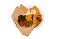 Ethiopian dish injera traditional dinner on a white background Royalty Free Stock Photography