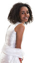 Ethiopian smile pretty young woman smiling on a white background Stock Photo