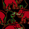 Ethnic african pattern with a elephant. Vector image Royalty Free Stock Photo