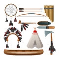 Ethnic american indigenous set tribal culture decorative isolated vector illustration Stock Images