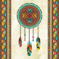 Ethnic background with dreamcatcher in navajo design Royalty Free Stock Photo