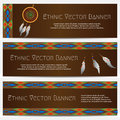 Ethnic Banners with Dream Catcher Royalty Free Stock Photo