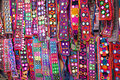 Ethnic belts with mirrors colorful at anjuna flea market in goa india Royalty Free Stock Image