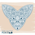 Ethnic blue head of the fox. High detailed Patterned head of the fox. Decorated Fox head. Vector Illustration.