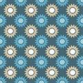 Ethnic boho seamless pattern. Decorative sunflowers. Scribble texture. Retro motif.