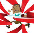 Ethnic business buddy is caught up in red tape illustration of clearly very distressed with the bureaucratic that hes got Stock Image
