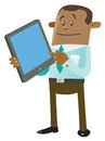 Ethnic business buddy with computer tablet illustration of an calculating his activities on his snazzy Stock Images