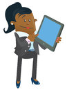 Ethnic businesswoman buddy with computer tablet illustration of an calculating her business activities on her snazzy Stock Photo