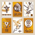 Ethnic cards set paper with sketch tribal and indian elements isolated vector illustration Stock Photography