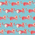Ethnic cats seamless pattern cute funny with hand drawn in style endless background Royalty Free Stock Photo