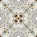 Ethnic chic orange decorative retro seamless indie pattern Stock Photos