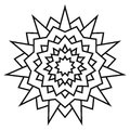 Ethnic circular symmetrical pattern. Black and white mandala for coloring.