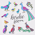 Ethnic colored birds baby with floral elements Stock Photography