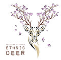 Ethnic colored head of deer with branches on the horns. totem / tattoo design. Use for print, posters, t-shirts. Vector illustrati Royalty Free Stock Photo