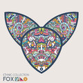 Ethnic colored head of the fox. High detailed Patterned head of the fox. Decorated Fox head. Vector Illustration.