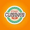 Ethnic cuisines restaurant badge logo illustration Stock Photos