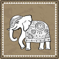 Ethnic elephant indian style hand drawn illustration Stock Photos