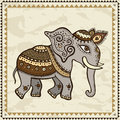 Ethnic elephant indian style hand drawn illustration crumpled paper background Royalty Free Stock Photography